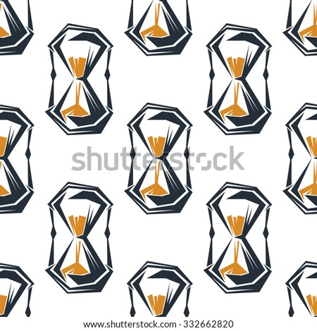 Vintage hourglasses seamless pattern on white background, for time concept design