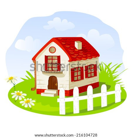 Vintage house on a summer lawn. vector illustration - stock vector