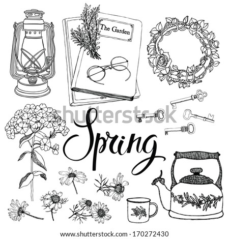 Vintage household objects and flowers, spring theme. Hand drawing and calligraphy - stock vector