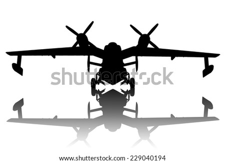 Vintage hydroplane with reflection. Detailed vector silhouette - stock vector