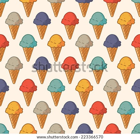 vintage ice cream pattern - stock vector