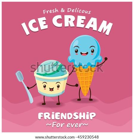 Vintage Ice Cream Poster Design Stock Vector 134988314 - Shutterstock