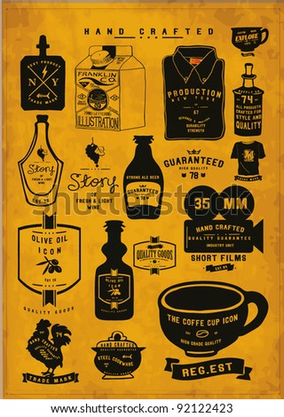 vintage icon label collection set - stock vector