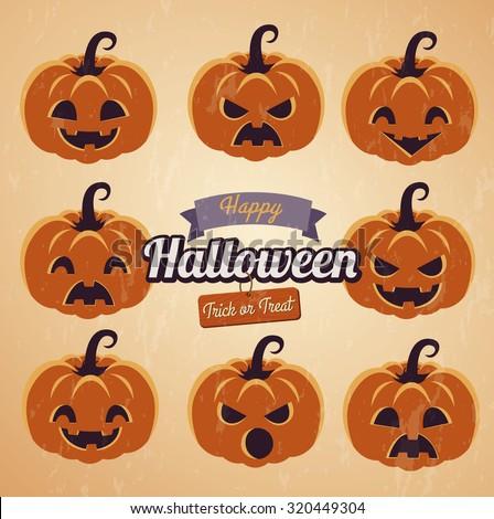 Vintage icon Set pumpkins, Halloween. - stock vector