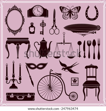 Vintage Icons, Ephemera And Objects Of Old Era, Set 2 - stock vector