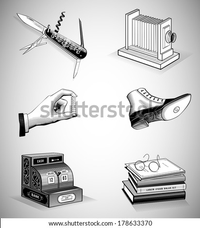 Vintage Icons in Woodcut Style. Vector Illustration - stock vector