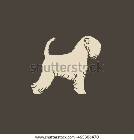 Vintage illustration flat portrait of one beautiful Soft-coated Wheaten Terrier dog standing on brown background