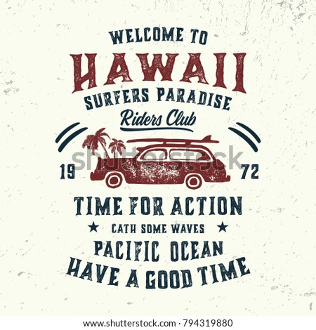 Vintage Illustration Hawaii Typography T Shirt Stock Vector (Royalty ...
