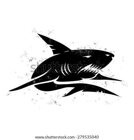 Vintage illustration of a black shark - stock vector