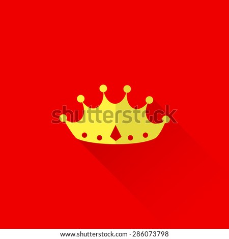vintage illustration of a crown in flat style with long shadow.  - stock vector