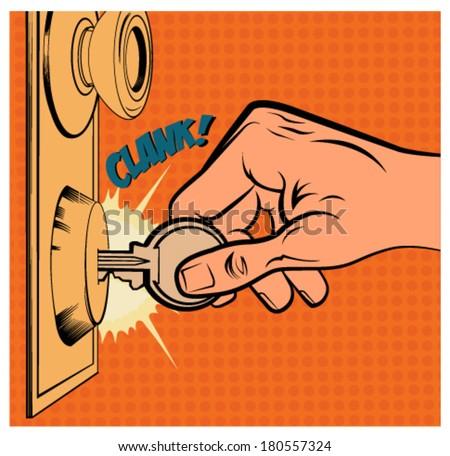 Vintage illustration of a hand open a door - stock vector