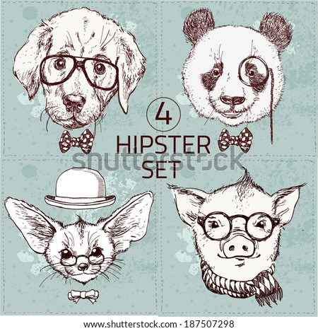 Vintage illustration of hipster animal set with glasses in vector.  Labrador puppy, panda bear, fox with long ears, pig - stock vector