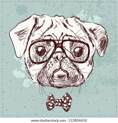 Vintage illustration of hipster pug dog with glasses and bow in vector on vintage background - stock vector