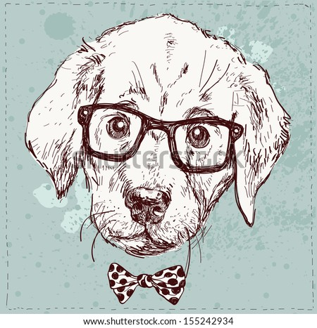 Vintage illustration of hipster puppy with glasses in vector - stock vector