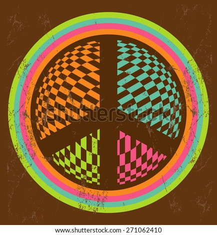 Vintage Illustration of peace and love sign made of colorful geometric elements - stock vector