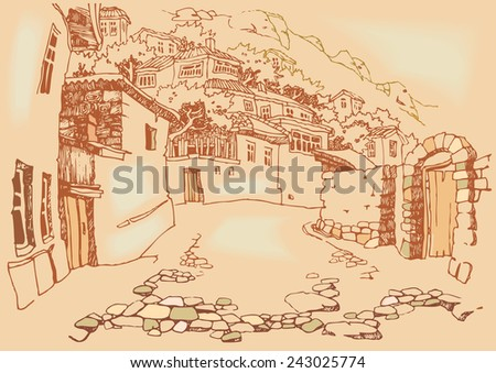 Vintage Illustration  of the old city. Sketch, hand drawn with ink, engraved retro style, effect of sepia. Vector illustration - stock vector