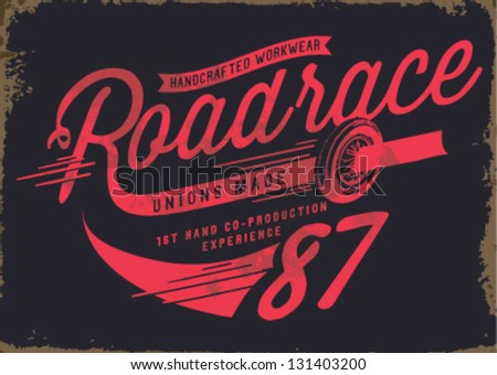 vintage illustration retro race car for apparel - stock vector