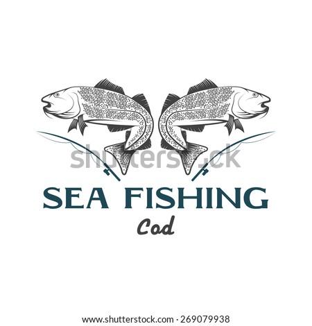 vintage illustration sea fishing with cod fish - stock vector