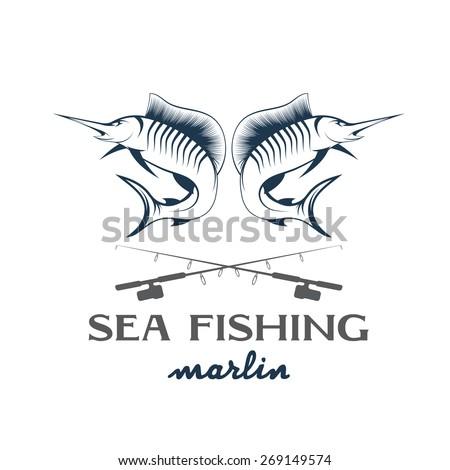 vintage illustration sea fishing with marlin - stock vector