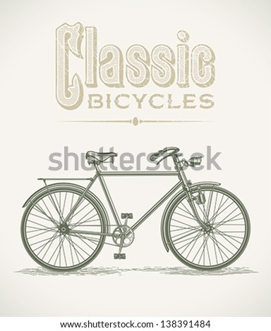 Vintage illustration with a classic gentleman's bicycle. Editable layered vector. - stock vector