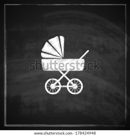 vintage illustration with a pram on blackboard background.  - stock vector