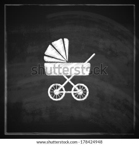 vintage illustration with a pram on blackboard background.  - stock vector