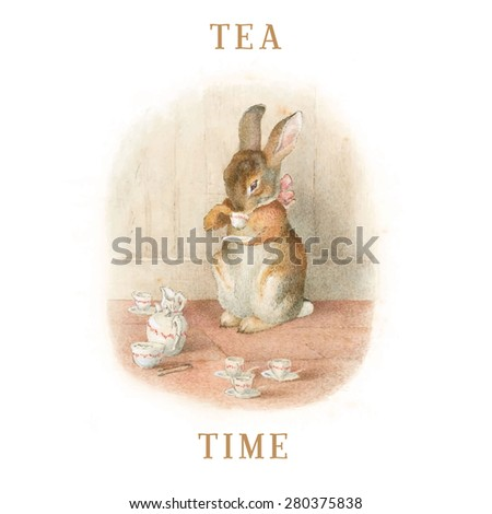 Vintage illustration with bunny drinking tea. Tea time vector retro illustration - stock vector
