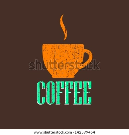 vintage illustration with coffee cup - stock vector
