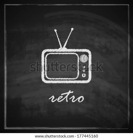 vintage illustration with retro TV sign on blackboard background - stock vector