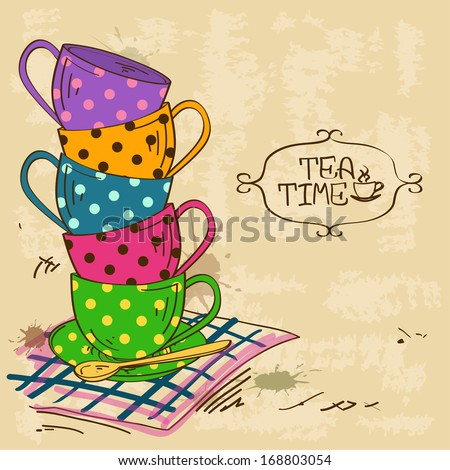 Vintage illustration with stack of colorful polka dot patterned tea cups - stock vector