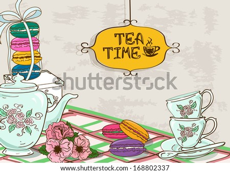 Vintage illustration with still life of tea set and French macaroons