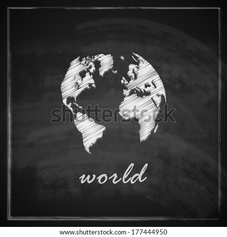 vintage illustration with the world map on chalkboard background - stock vector