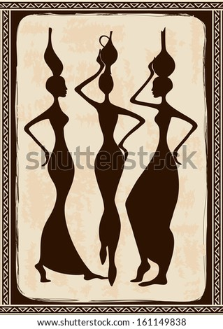 Vintage illustration with three beautiful slim African women  - stock vector