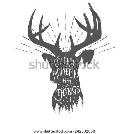 Vintage illustration with wilderness quote on deer head silhouette - stock vector