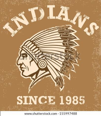 vintage indian mascot - stock vector