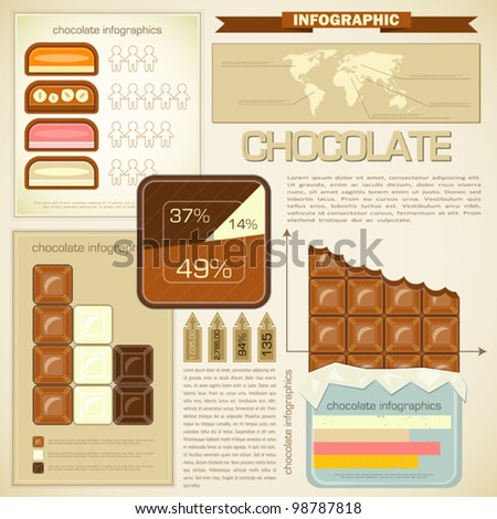 Vintage infographics set - chocolate icons and elements for presentation and graph - vector illustration - stock vector