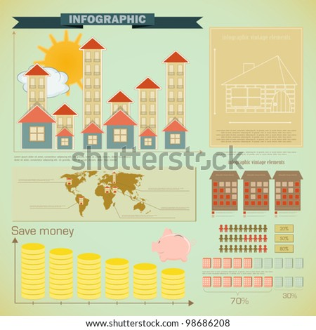 Vintage infographics set - House Construction and elements for presentation and Graph - vector illustration - stock vector