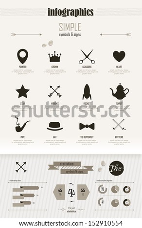 Vintage infographics set_Set of simple elements and symbols_ icons for your design - stock vector
