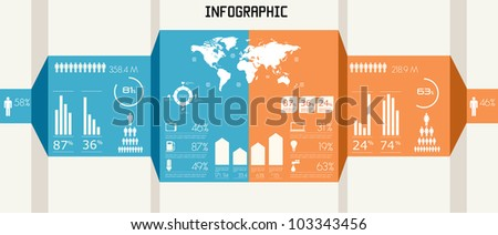 Vintage infographics set. World Map and Information Graphics
