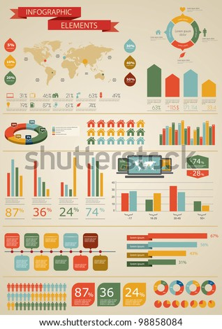 Vintage infographics set. World Map and Information Graphics - stock vector