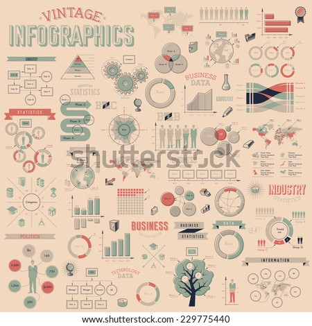Vintage infographics with data icons, world map charts and design elements. Vector illustration. - stock vector