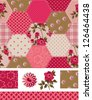 Vintage Inspired Patchwork Rose Seamless Patterns and Icons. Use as fills, digital paper, or print off onto fabric to create unique items. - stock vector