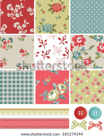 Vintage Inspired Vector Seamless Rose Patterns and Icons. Use as fills, digital paper, or print off onto fabric to create unique items. - stock vector