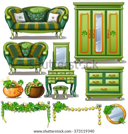 Vintage interior in green color. Vector. - stock vector