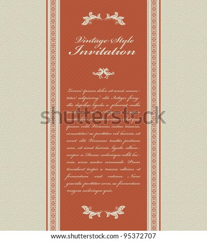 Vintage invitation card - stock vector