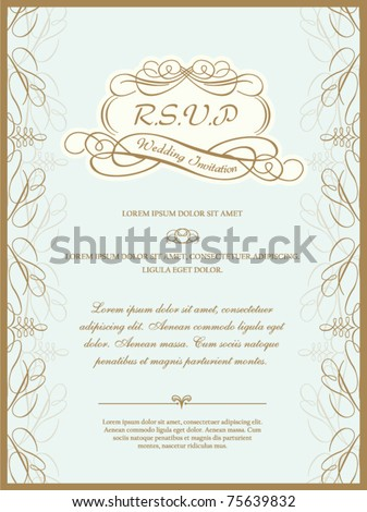 vintage invitation card or wedding card - stock vector