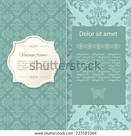 Vintage invitation card template. - stock vector