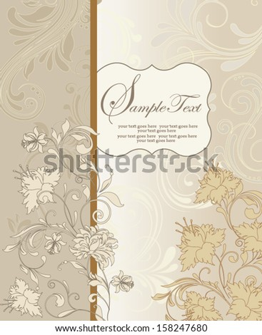 vintage invitation card with abstract floral background