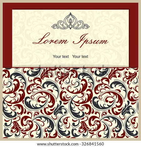 Vintage invitation card with colorful Victorian ornaments - stock vector