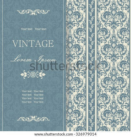 Vintage invitation card with damask ornaments in blue and beige - stock vector